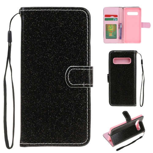 For Samsung Galaxy S10 Plus Glitter Powder Horizontal Flip Leather Case with Card Slots & Holder & Photo Frame & Wallet(Black)