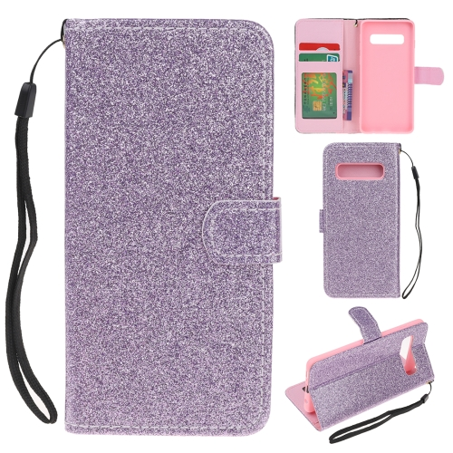 For Samsung Galaxy S10 Plus Glitter Powder Horizontal Flip Leather Case with Card Slots & Holder & Photo Frame & Wallet(Purple)