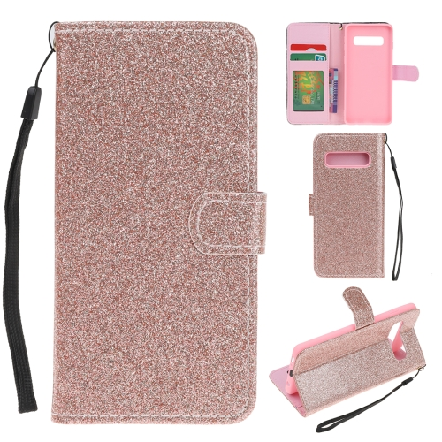 For Samsung Galaxy S10 Plus Glitter Powder Horizontal Flip Leather Case with Card Slots & Holder & Photo Frame & Wallet(Rose Gold)