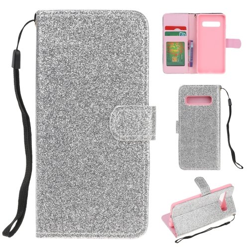 For Samsung Galaxy S10e Glitter Powder Horizontal Flip Leather Case with Card Slots & Holder & Photo Frame & Wallet(Silver)