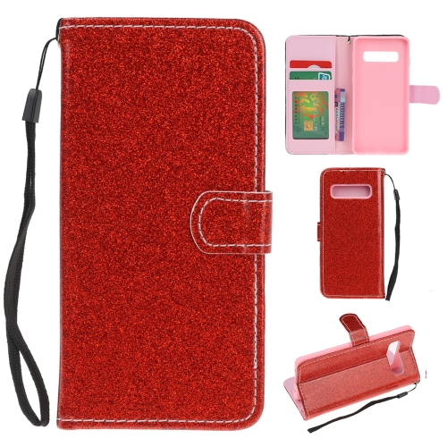 For Samsung Galaxy S10e Glitter Powder Horizontal Flip Leather Case with Card Slots & Holder & Photo Frame & Wallet(Red)