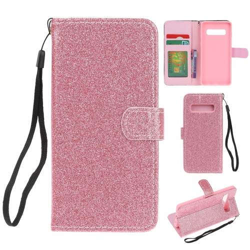 For Samsung Galaxy S10e Glitter Powder Horizontal Flip Leather Case with Card Slots & Holder & Photo Frame & Wallet(Pink)