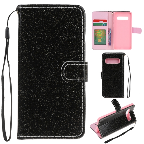 For Samsung Galaxy S10e Glitter Powder Horizontal Flip Leather Case with Card Slots & Holder & Photo Frame & Wallet(Black)