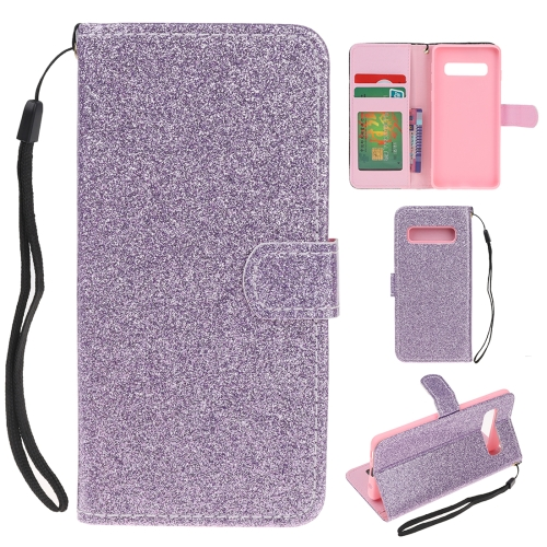For Samsung Galaxy S10e Glitter Powder Horizontal Flip Leather Case with Card Slots & Holder & Photo Frame & Wallet(Purple)