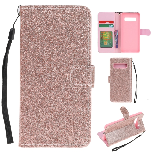 For Samsung Galaxy S10e Glitter Powder Horizontal Flip Leather Case with Card Slots & Holder & Photo Frame & Wallet(Rose Gold)