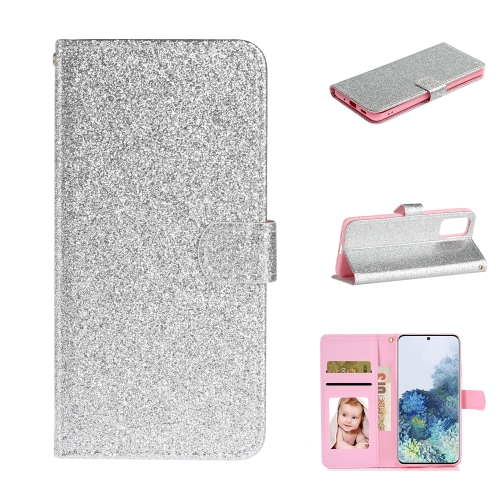 For Samsung Galaxy S20 Plus Glitter Powder Horizontal Flip Leather Case with Card Slots & Holder & Photo Frame & Wallet(Silver)