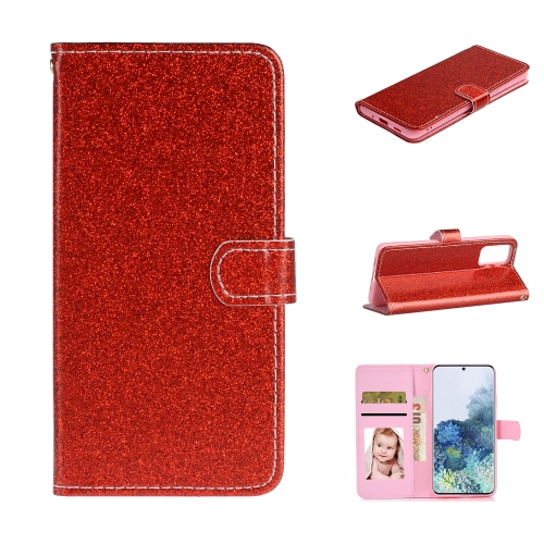 For Samsung Galaxy S20 Plus Glitter Powder Horizontal Flip Leather Case with Card Slots & Holder & Photo Frame & Wallet(Red)