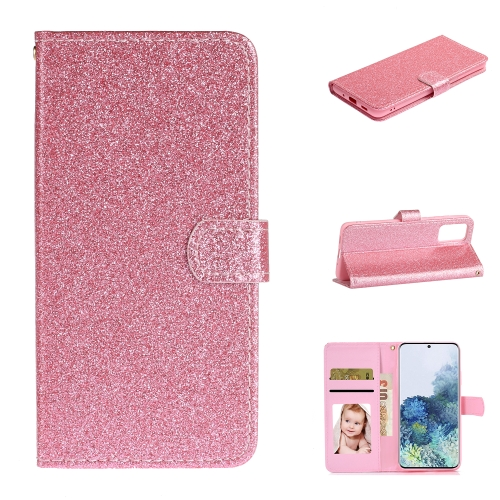 For Samsung Galaxy S20 Plus Glitter Powder Horizontal Flip Leather Case with Card Slots & Holder & Photo Frame & Wallet(Pink)