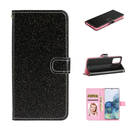 For Samsung Galaxy S20 Plus Glitter Powder Horizontal Flip Leather Case with Card Slots & Holder & Photo Frame & Wallet(Black)