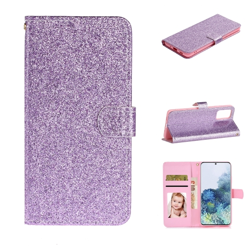 For Samsung Galaxy S20 Plus Glitter Powder Horizontal Flip Leather Case with Card Slots & Holder & Photo Frame & Wallet(Purple)