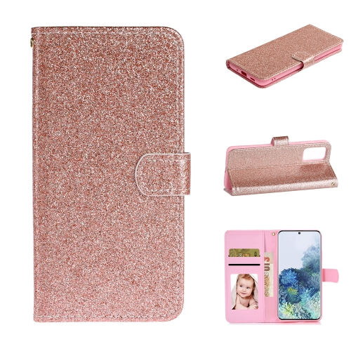 For Samsung Galaxy S20 Plus Glitter Powder Horizontal Flip Leather Case with Card Slots & Holder & Photo Frame & Wallet(Rose Gold)