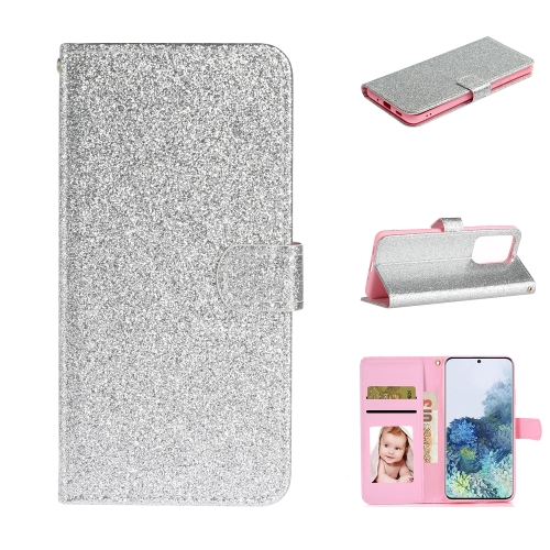 For Samsung Galaxy S20 Ultra Glitter Powder Horizontal Flip Leather Case with Card Slots & Holder & Photo Frame & Wallet(Silver)