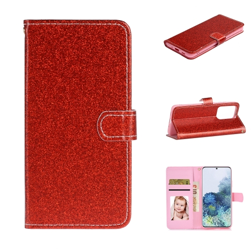For Samsung Galaxy S20 Ultra Glitter Powder Horizontal Flip Leather Case with Card Slots & Holder & Photo Frame & Wallet(Red)