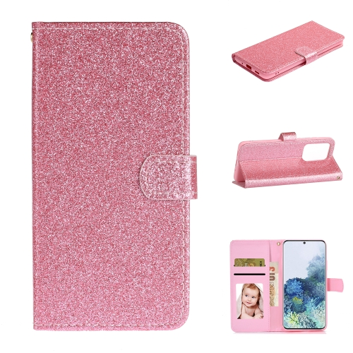 For Samsung Galaxy S20 Ultra Glitter Powder Horizontal Flip Leather Case with Card Slots & Holder & Photo Frame & Wallet(Pink)