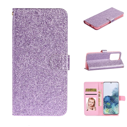 For Samsung Galaxy S20 Ultra Glitter Powder Horizontal Flip Leather Case with Card Slots & Holder & Photo Frame & Wallet(Purple)