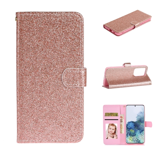 For Samsung Galaxy S20 Ultra Glitter Powder Horizontal Flip Leather Case with Card Slots & Holder & Photo Frame & Wallet(Rose Gold)