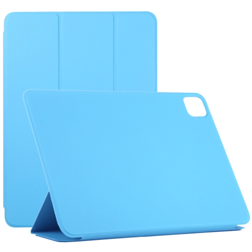 For iPad Pro 11 inch (2020) Horizontal Flip Ultra-thin Double-sided Clip Without Magnetic PU Leather Case With Three-folding Holder & Sleep / Wake-up Function(Blue)