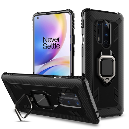 For OnePlus 8 Pro Carbon Fiber Protective Case with 360 Degree Rotating Ring Holder(Black)