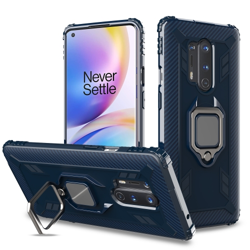 For OnePlus 8 Pro Carbon Fiber Protective Case with 360 Degree Rotating Ring Holder(Blue)