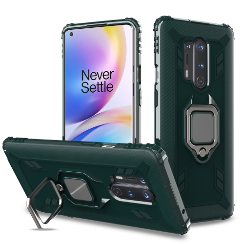 For OnePlus 8 Pro Carbon Fiber Protective Case with 360 Degree Rotating Ring Holder(Green)