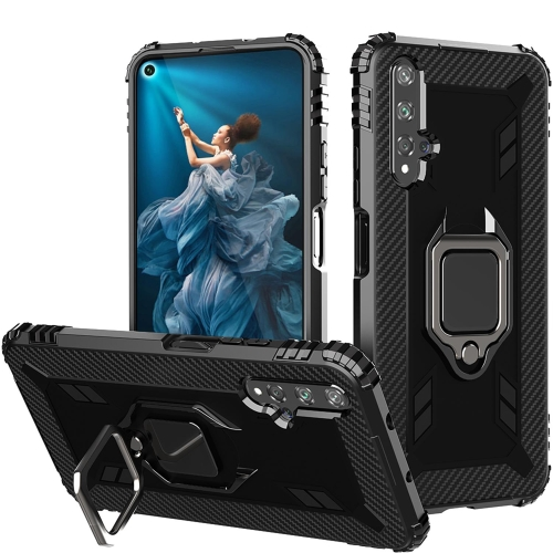 For Honor 20 / 20S / Nova 5T Carbon Fiber Protective Case with 360 Degree Rotating Ring Holder(Black)
