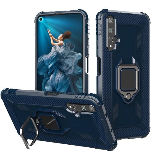 For Honor 20 / 20S / Nova 5T Carbon Fiber Protective Case with 360 Degree Rotating Ring Holder(Blue)