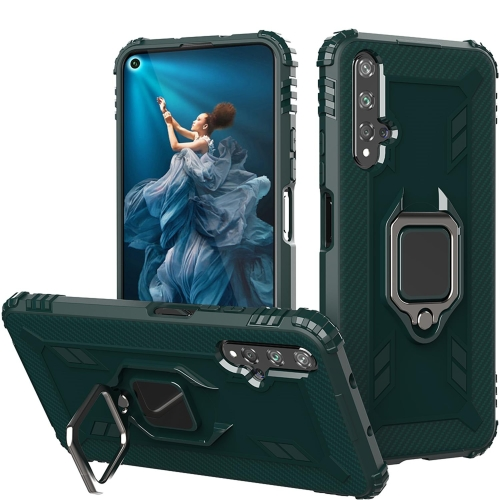 For Honor 20 / 20S / Nova 5T Carbon Fiber Protective Case with 360 Degree Rotating Ring Holder(Green)