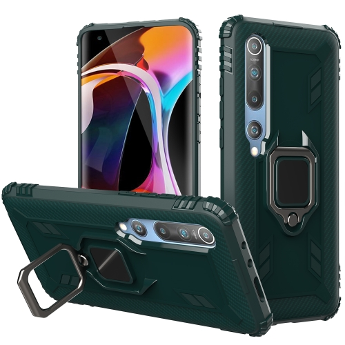 For Xiaomi Mi 10 / 10 Pro Carbon Fiber Protective Case with 360 Degree Rotating Ring Holder(Green)