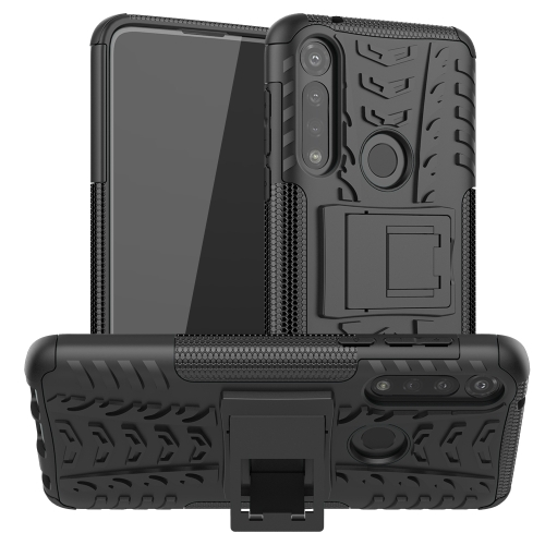 For Motorola Moto G Power Tire Texture Shockproof TPU + PC Protective Case with Holder(Black)