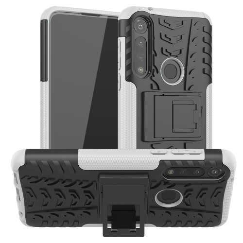 For Motorola Moto G Power Tire Texture Shockproof TPU + PC Protective Case with Holder(White)