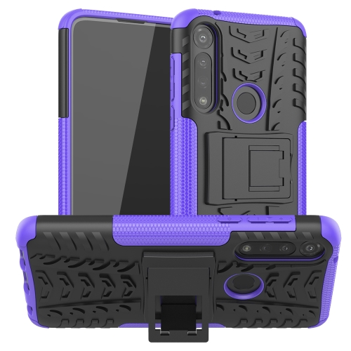 For Motorola Moto G Power Tire Texture Shockproof TPU + PC Protective Case with Holder(Purple)