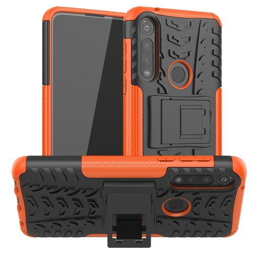 For Motorola Moto G Power Tire Texture Shockproof TPU + PC Protective Case with Holder(Orange)