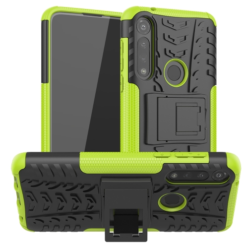 For Motorola Moto G Power Tire Texture Shockproof TPU + PC Protective Case with Holder(Green)