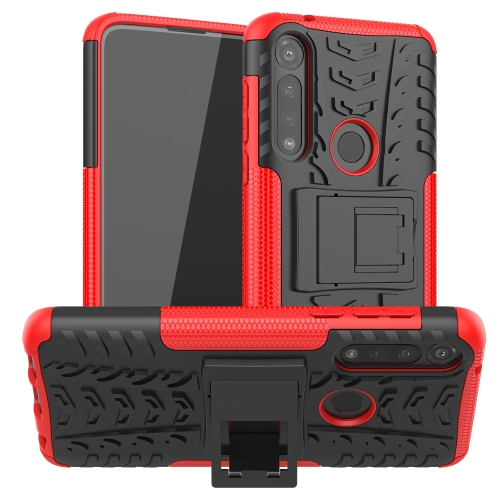 For Motorola Moto G Power Tire Texture Shockproof TPU + PC Protective Case with Holder(Rose Red)