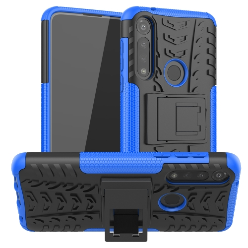For Motorola Moto G Power Tire Texture Shockproof TPU + PC Protective Case with Holder(Blue)