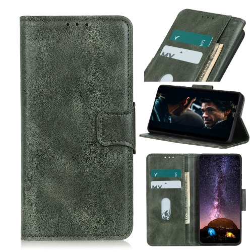 For Samsung Galaxy Xcover Pro Mirren Crazy Horse Texture Horizontal Flip Leather Case with Holder & Card Slots & Wallet(Dark Green)