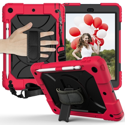 For iPad 10.2 Shockproof PC + Silicone Combination Case with Holder & Hand Strap & Shoulder Strap(Red+Black)