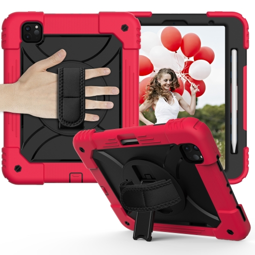 For iPad Pro 11 (2020) Shockproof PC + Silicone Combination Case with Holder & Hand Strap & Shoulder strap(Red+Black)