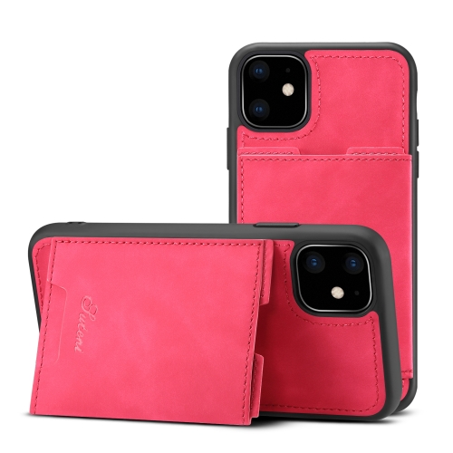 For iPhone 11 TPU + PU Leather Anti-fall Protective Case with Holder & Card Slots(Rose Red)