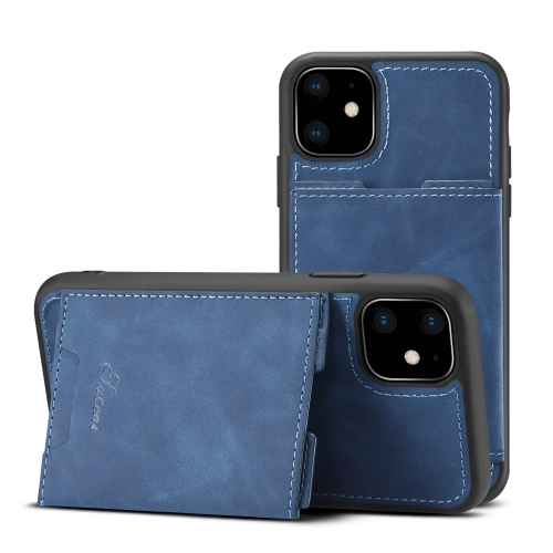 For iPhone 11 Pro Max H08 TPU + PU Leather Anti-fall Protective Case with Holder & Card Slots(Blue)