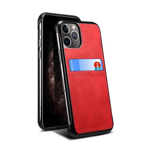 For iPhone 11 Pro Max H11 TPU + PU Leather Anti-fall Protective Case with Card Slot(Red)