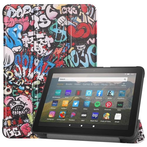 For Kindle Fire HD 8 (2020) Colored Drawing Horizontal Flip Leather Case, with Three-folding Holder & Wake-up / Sleep Function(Graffiti)
