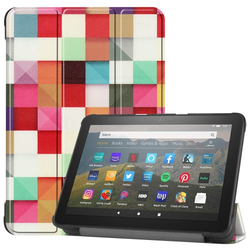 For Kindle Fire HD 8 (2020) Colored Drawing Horizontal Flip Leather Case, with Three-folding Holder & Wake-up / Sleep Function(Magic Cube)