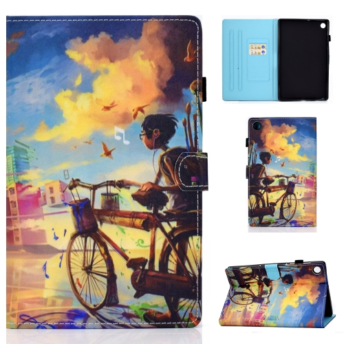 For Lenovo Tab M10 Plus TB-X606F Colored Drawing Stitching Horizontal Flip Leather Case, with Holder & Card Slots & Sleep / Wake-up Function(Cycling Boy)