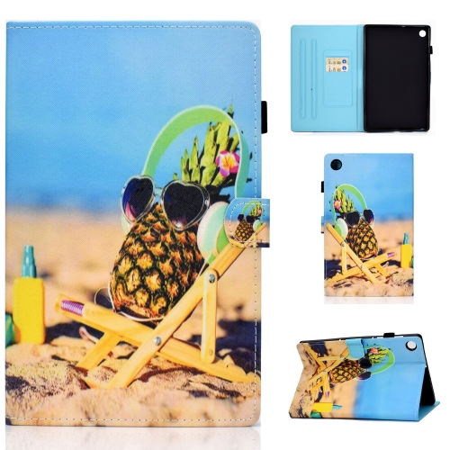 For Lenovo Tab M10 Plus TB-X606F Colored Drawing Stitching Horizontal Flip Leather Case, with Holder & Card Slots & Sleep / Wake-up Function(Pineapple)