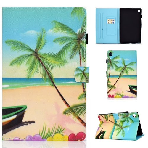 For Lenovo Tab M10 Plus TB-X606F Colored Drawing Stitching Horizontal Flip Leather Case, with Holder & Card Slots & Sleep / Wake-up Function(Beach)