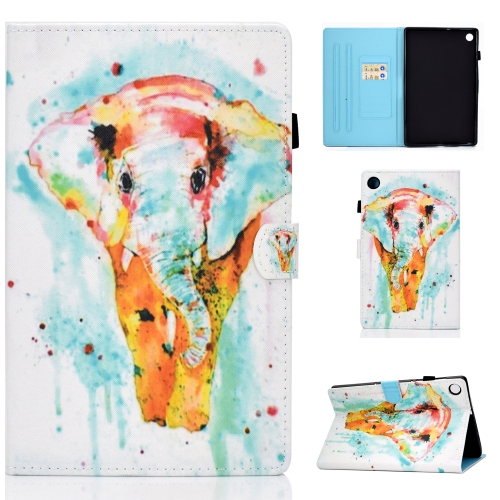 For Lenovo Tab M10 Plus TB-X606F Colored Drawing Stitching Horizontal Flip Leather Case, with Holder & Card Slots & Sleep / Wake-up Function(Colored Elephant)