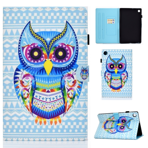 For Lenovo Tab M10 Plus TB-X606 Colored Drawing Stitching Horizontal Flip Leather Case, with Holder & Card Slots & Sleep / Wake-up Function(Colored Owl)