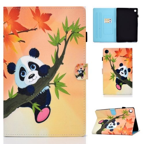 For Lenovo Tab M10 Plus TB-X606 Colored Drawing Stitching Horizontal Flip Leather Case, with Holder & Card Slots & Sleep / Wake-up Function(Bamboo bear)