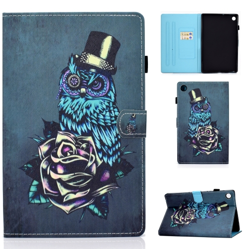 For Lenovo Tab M10 Plus TB-X606 Colored Drawing Stitching Horizontal Flip Leather Case, with Holder & Card Slots & Sleep / Wake-up Function(Rose Owl)